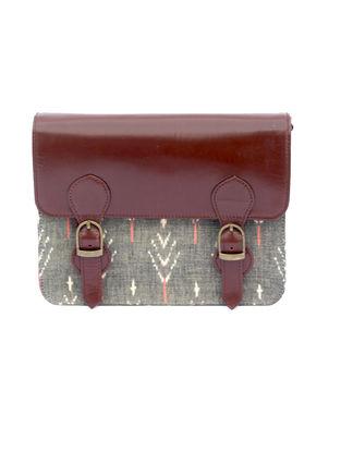 Tan-Grey Dabu Hand-Printed Cotton and Leather Sling Bag