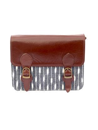 Tan-Grey Ikat Hand-Printed Cotton and Leather Sling Bag