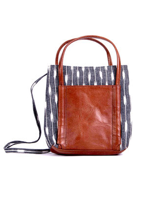 Tan-Grey Ikat Hand-Printed Cotton and Leather Sling Bag cum Handbag