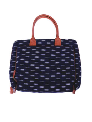Tan-Navy Ikat Hand-Printed Cotton and Leather Laptop Bag