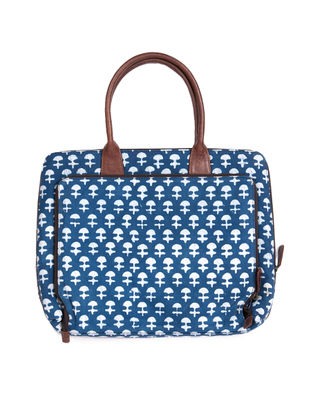 Tan-Blue Dabu Hand-Printed Cotton and Leather Laptop Bag