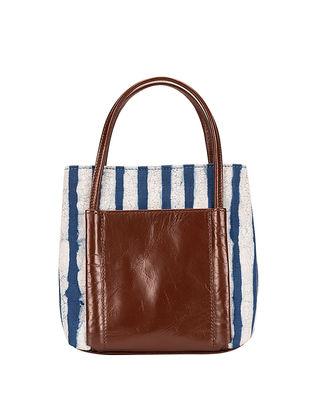 Tan-Blue Dabu Hand-Printed Cotton and Leather Sling Bag cum Handbag