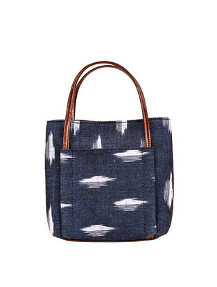 Tan-Blue Ikat Weave Cotton and Leather Sling Bag cum Handbag