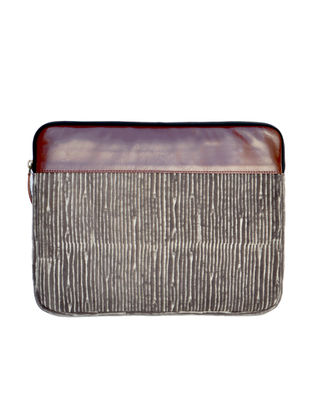 Brown-White Dabu Hand Printed Cotton Laptop Sleeve