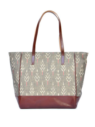 Green-Grey Ikat Cotton and Leather Tote