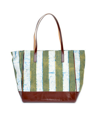 White-Yellow Ikat Cotton and Leather Tote