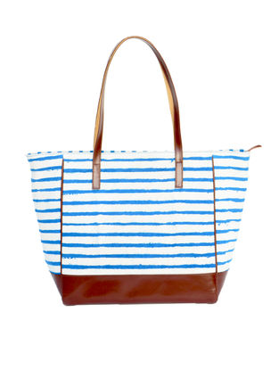 Blue-White Ikat Weave Cotton and Leather Tote
