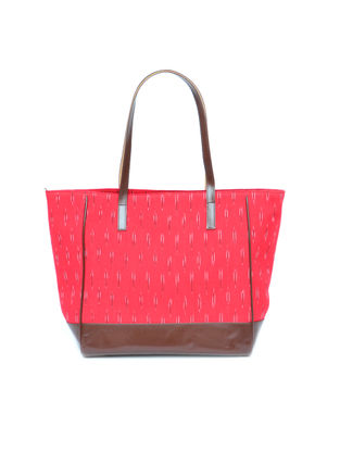 Red Ikat Weave Cotton and Leather Tote