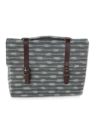 Grey-Brown Ikat Printed Cotton and Leather Laptop Sleeve