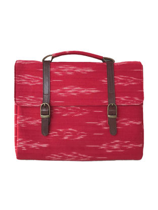 Red-Brown Ikat Printed Cotton and Leather Laptop Sleeve