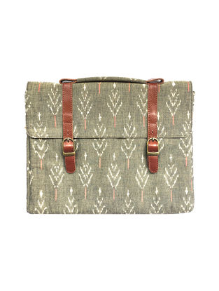 Tan-Grey Ikat Printed Cotton and Leather Laptop Sleeve