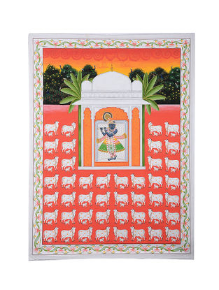 Shri Nathi ji Palace in Garden Surrounded with Cows Mix Media on Cotton (45in x 33in)