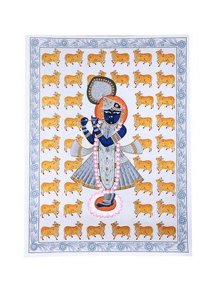Shri Nathji Contemporary Gopashtami Festival Mix Media on Canvas (45in x 33in)