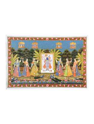 Shri Nathi and the Gopis Mix Media on Cotton (67in x 43in)