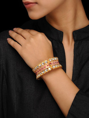 Coral Gold Tone Enamel Kundan Inspired Bangle