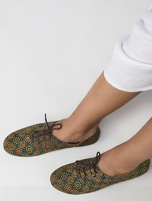 Olive Ajrakh Printed Cotton Oxfords