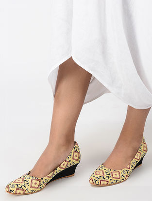 Yellow-Multicolored Ajrakh Printed Cotton Wedges