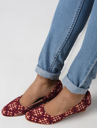 Red Ajrakh Printed Cotton Wedges