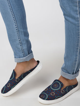 Blue Handcrafted Cotton Sneakers