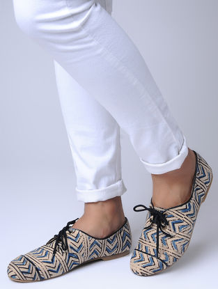 Blue-Beige Printed Cotton Oxfords