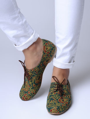 Green Kalamkari-Printed Cotton Oxfords