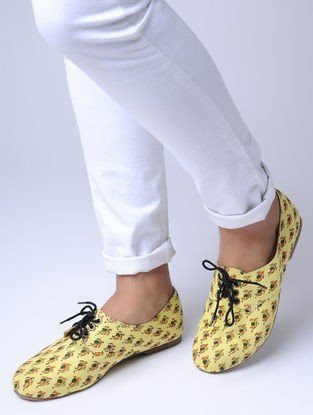Yellow Block-Printed Cotton Oxfords