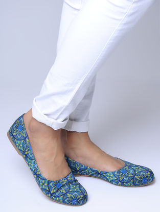 Blue-Green Printed Ballerinas