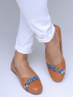 Tan-Multicolored Printed Strap Ballerinas