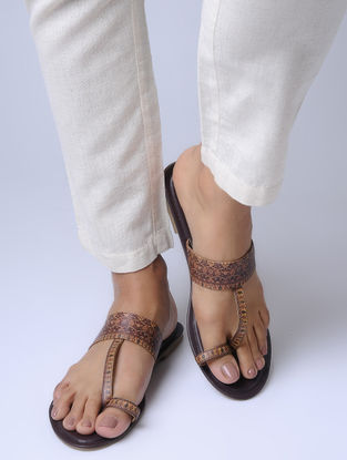 Brown Handcrafted Kolhapuri Flats