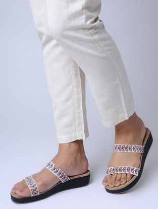White Handcrafted Paduka Flats with Madhubani Printed Straps