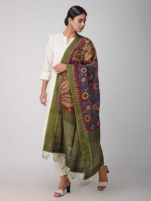 Red-Green Hand-painted Ikat Cotton Kalamkari Dupatta