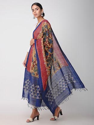 Red-Blue Hand-painted Ikat Cotton Kalamkari Dupatta