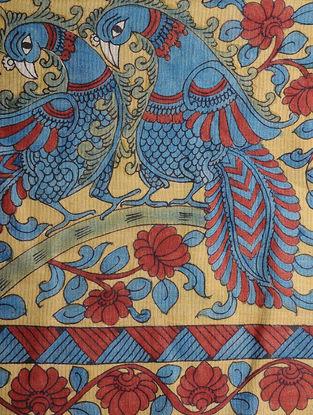 Pink-Blue Hand-painted Ikat Cotton Kalamkari Dupatta