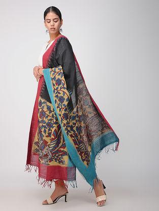 Black-Beige Hand-painted Ikat Cotton Kalamkari Dupatta