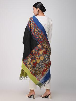 Black-Blue Hand-painted Ikat Cotton Kalamkari Dupatta