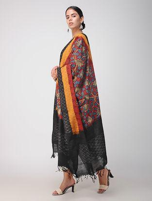 Red-Black Hand-painted Ikat Cotton Kalamkari Dupatta