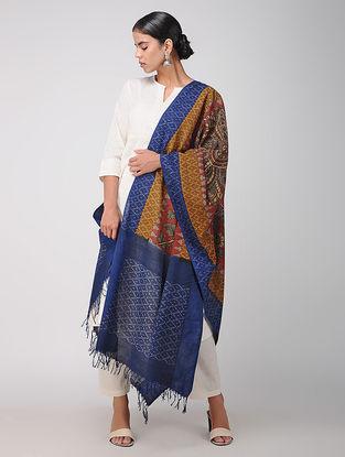 Brown-Blue Hand-painted Ikat Cotton Kalamkari Dupatta