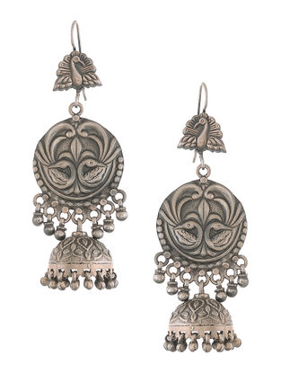 Classic Silver Jhumkis with Peacock Motif