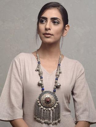 Blue-Red Vintage Afghani Silver Necklace