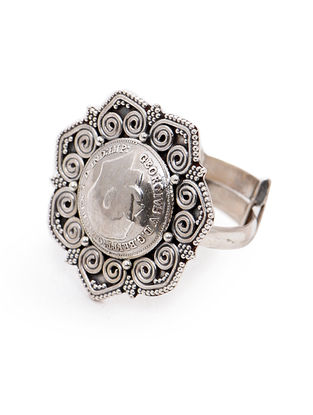Tribal Coin Adjustable Silver Ring
