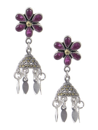 Pink Dual Tone Silver Jhumkis with Floral Design