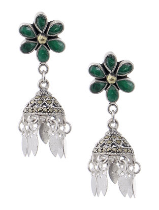 Green Dual Tone Silver Jhumkis with Floral Design