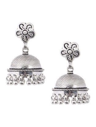 Classic Silver Jhumkis with Floral Design
