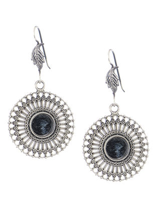 Glass Silver Earrings with Peacock Design
