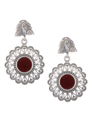 Red Glass Silver Earrings with Peacock Design