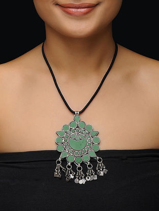Green Glass Silver Necklace with Floral Design