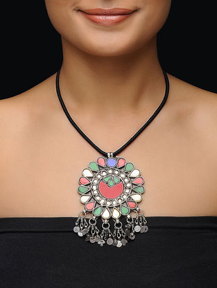 Multicolored Glass Silver Necklace with Floral Design