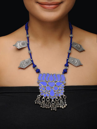 Blue Glass Thread Silver Necklace with Lotus Design