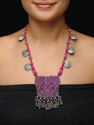 Pink Glass Thread Silver Necklace with Lotus Design