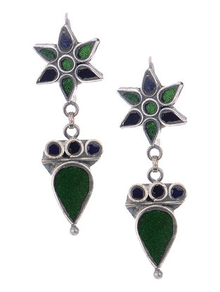 Green-Blue Glass Silver Earrings with Floral Design